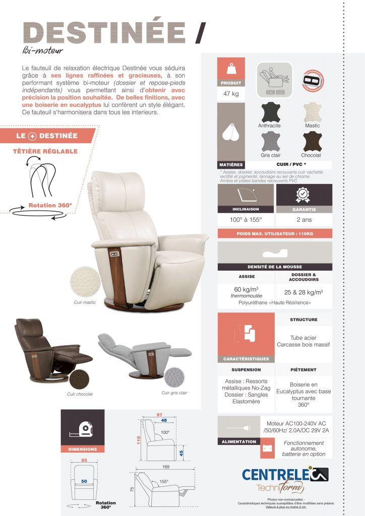 Fauteuil Relaxation Centrelec Techniform DESTINEE