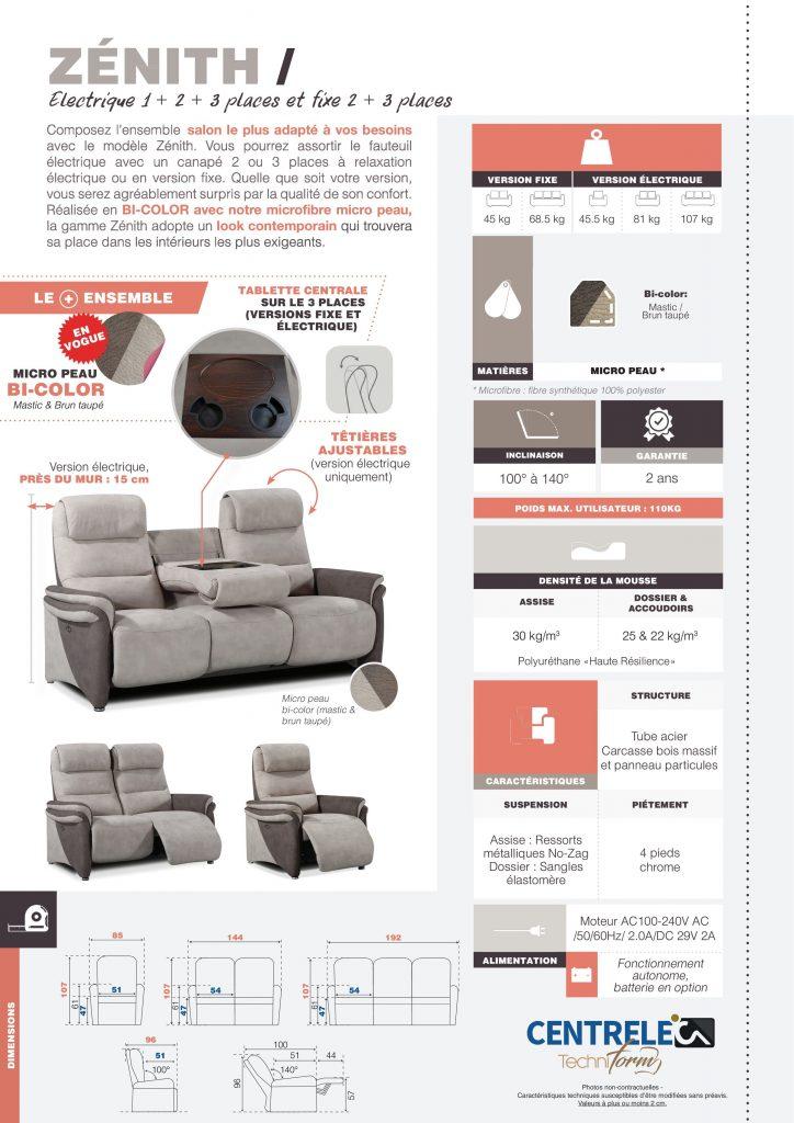 Canapé Relaxation Centrelec Techniform ZENITH