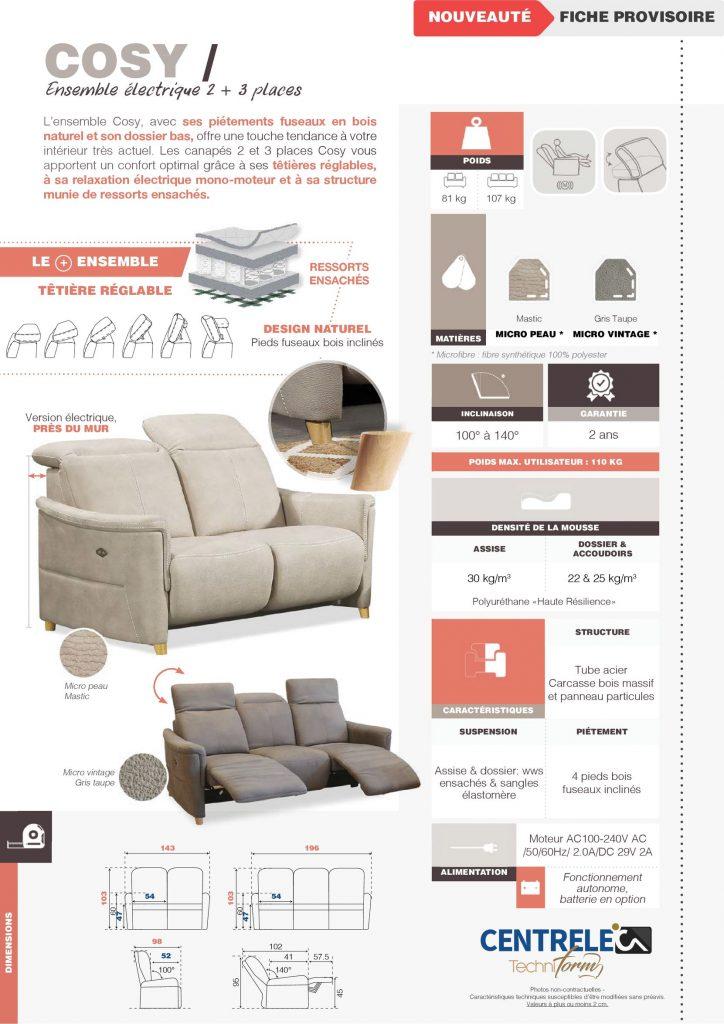 Canapé Relaxation Centrelec Techniform COSY