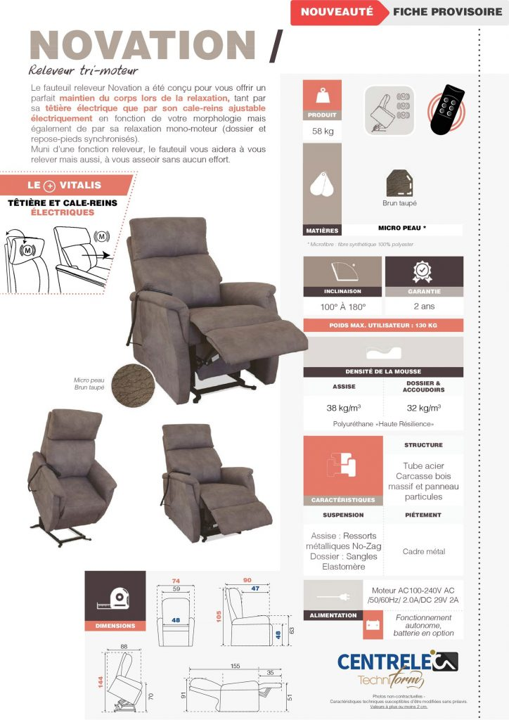 Fauteuil Relaxation Centrelec Techniform NOVATION Brun Taupé